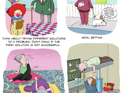 A few examples from a series (22 cartoons in all) that were used for a booklet regarding Persistent Pain.